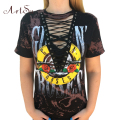 ArtSu Gun Roses Print T Shirt Women Punk Clothes Women Hollow Out V Neck Tees Tops Lace Up Harajuku  T-Shirt ASTS20012
