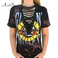 ArtSu Gun Roses Print T Shirt Women Punk Clothes Women Hollow Out V Neck Tees Tops Lace Up Harajuku  T-Shirt ASTS20012