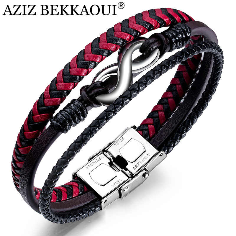 AZIZ BEKKAOUI Vintage Red Handmade Genuine Leather Bracelet For Men Jewelry Endless Love Stainless Steel Bracelets Jewelry Gift