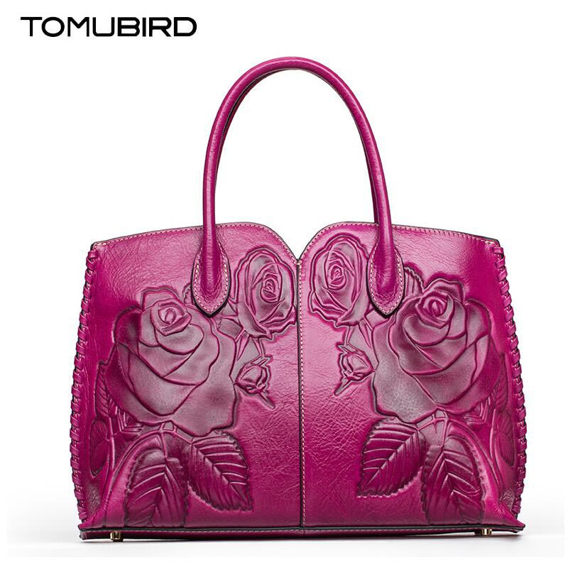 TOMUBIRD new Superior cowhide leather Classic Ladies Crocodile Hand Embossed Tote Shoulder Handbags women Genuine Leather bag tomubird 2017 new superior cowhide leather painting genuine leather embossed women leather handbags tote leather shoulder bag