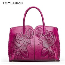 TOMUBIRD new Superior cowhide leather Classic Ladies Crocodile Hand Embossed Tote Shoulder Handbags women Genuine Leather bag