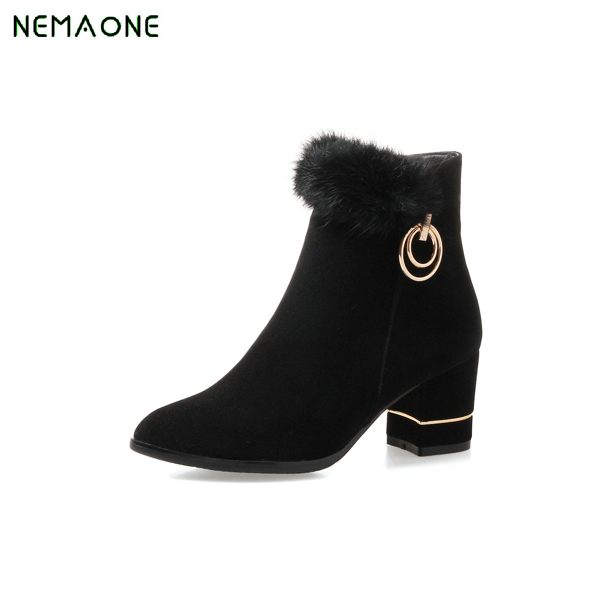 NEMAONE 2018 Woman Boots Ankle Boots Zipper Square High Heel Women Shoes PU leather Fashion Ladies Motorcycle Boots Size 34-43 2017 pink shoes woman pu leather square high heel ankle boots zipper women winter shoes ladies motorcycle boots size 33 43