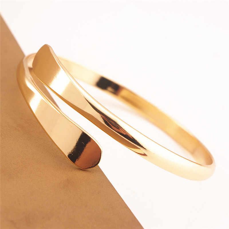 シンプルな純粋な銅ジュエリーオープン腕輪 & ブレスレットパンクシルバーゴールドカラーリストバンドカフブレスレット女性 Pulseiras ため Z3