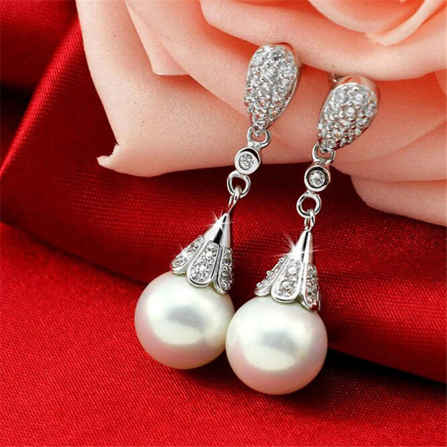 TenJshunzhu Fashion Silver Shiny Cubic Zirconia Crystal Beads Stud Earrings for Women Wedding Bijoux Brincos EH120