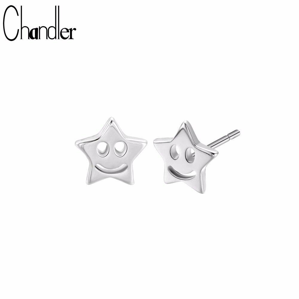 Chandler Cute Silver Star Stud Earring With 925s Stamp Cute Smile Face oorbellen voor vrouwen Geometry Star Earrings For Kids