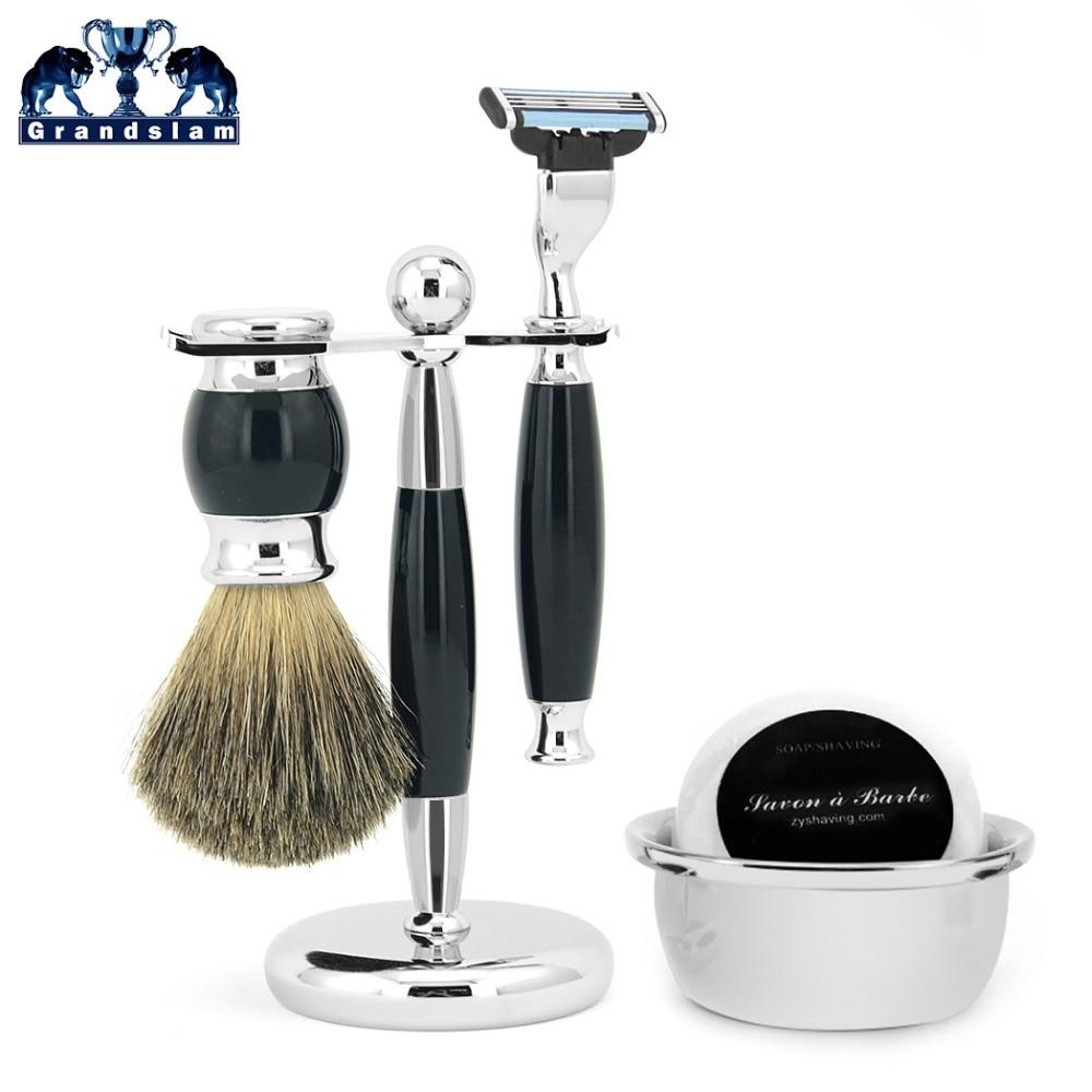 Grandslam Men Safety Blade Razor Kit Pure Badger Hair Brush Stand Holder Bowl Mug Shave Beard Soap Set Offer Dropshipping merkur 45 bakelite safety razor travel set