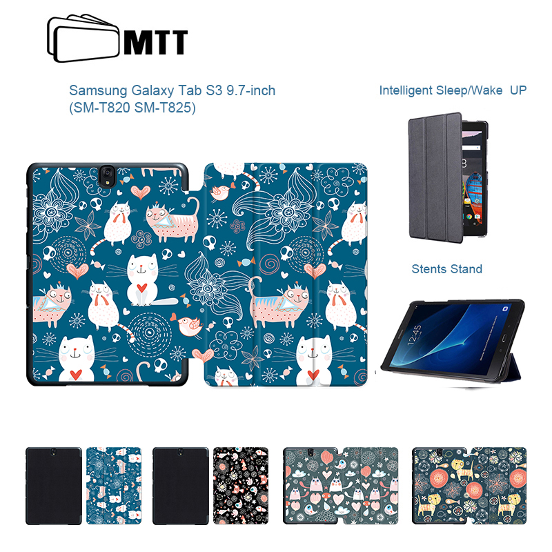 Cute Cartoon Cat Painted PU Leather Case for Samsung Galaxy Tab S3 9.7 inch T820 T825 Tablet Fundas Case Flip Stand Smart Cover tab s3 t820 9 7 inch jean leather case cover protective stand skin for samsung galaxy tab s3 9 7 t820 t825 tablet smart fundas