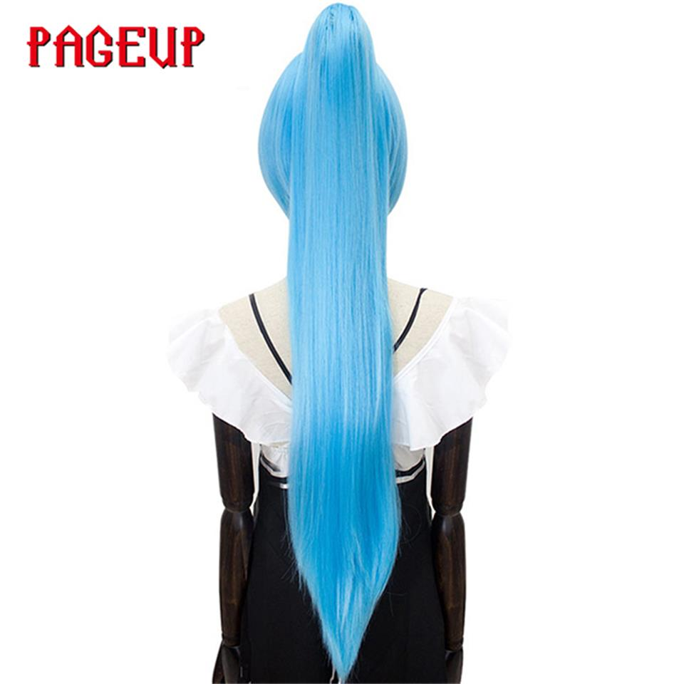 Pageup 32Inches Long Staight Ponytail Wigs Clip In Hair Extensions High Temperature Fiber Synthetic Wig Anime Party Cosplay Wigs(China)