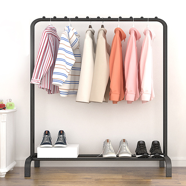 Actionclub Single Rod Drying Rack Floor Stand Drying Rack Simple Clothes Storage Shelf  Folding Indoor Balcony Clothes Racks 1