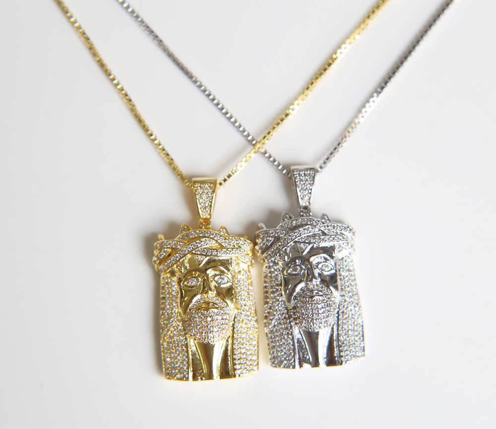 Cadena colgante con abalorio Hip Hop cara de cabeza pieza de Jesucristo Color dorado negro para hombres y mujeres accesorios de moda
