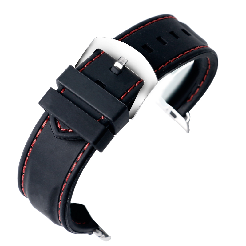 For Apple Watch Strap Band 38mm Black Silicone 42mm White/Red Line Stitch Military Watch Strap for iWatch Sport Watch Buckle eache silicone watch band strap replacement watch band can fit for swatch 17mm 19mm men women