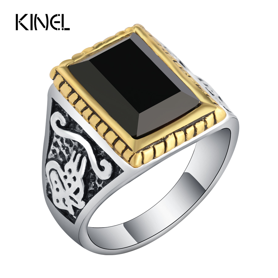 Fashion Black Men Ring Vintage Jewelry Antique Silver Anniversary Gift Rings For Men