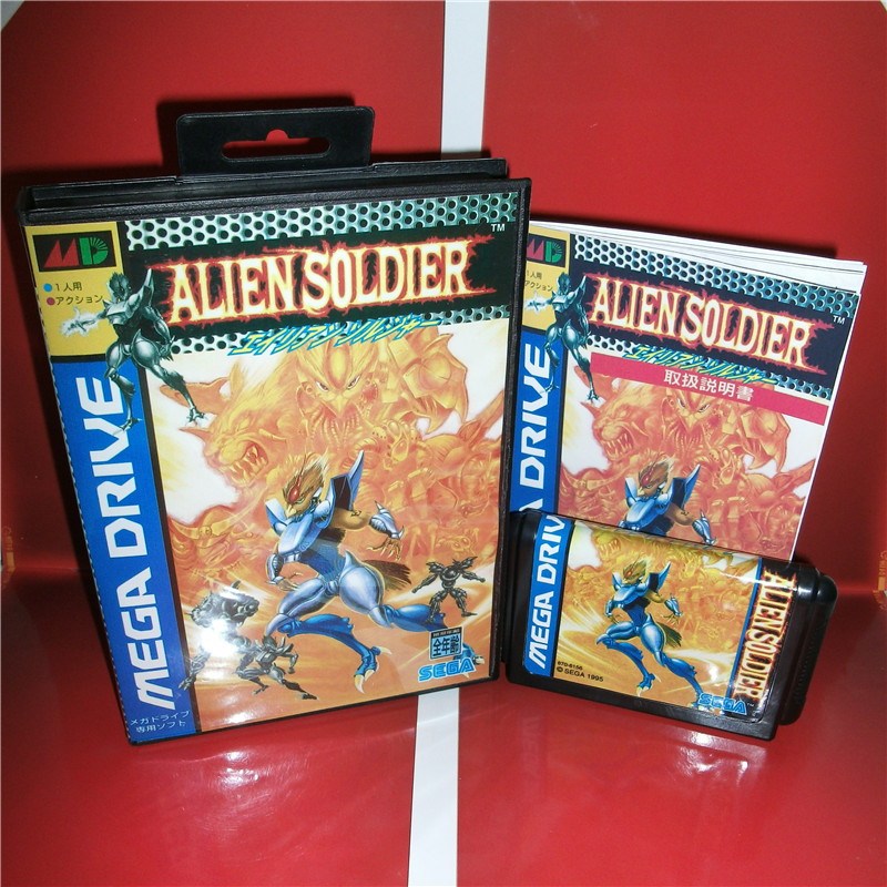 MD games card - Alien Soldier Japan Cover with Box and Manual for MD MegaDrive Genesis Video Game Console 16 bit MD card sinder 2 16 md sega megadrive 16 bit game card