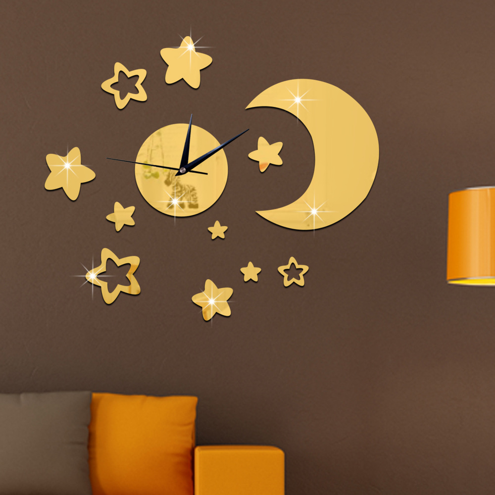Wall Clock Decor compare prices on moon wall clock- online shopping/buy low price