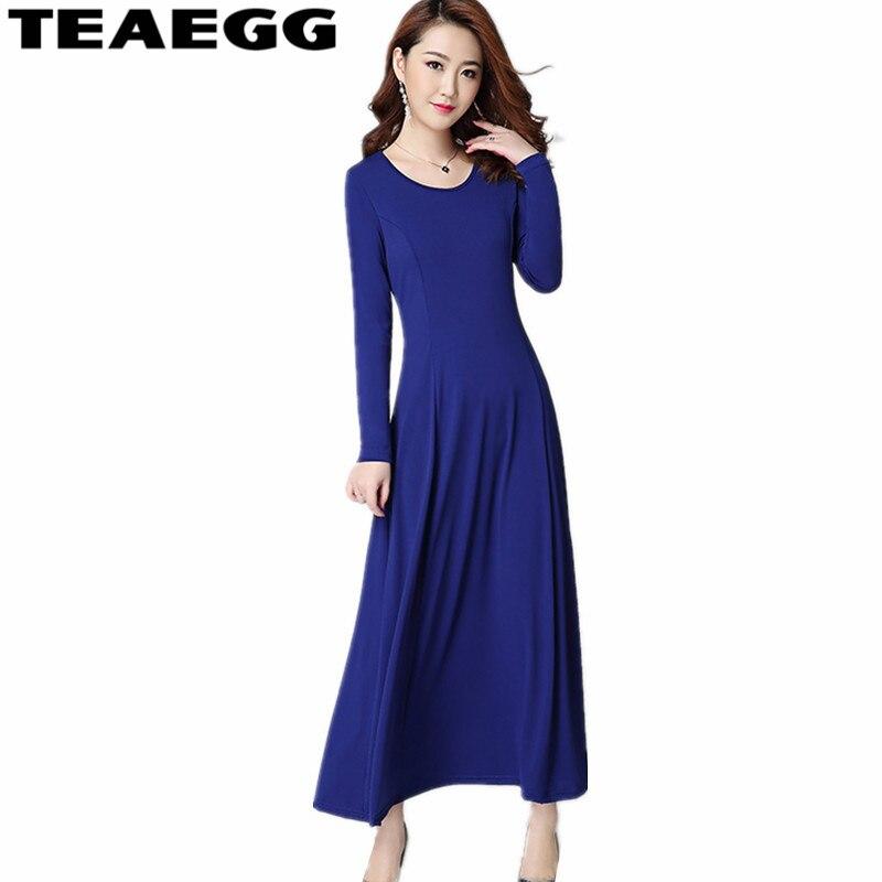 TEAEGG printemps robe femmes 2019 décontracté Maxi robe grande taille bleu robes fête dames élégant Vestidos De Fiesta AL808