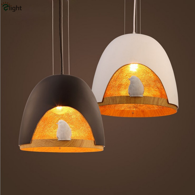 Nordic Minimalism Painted Iron Resin Bird Cage Led Pendant Light FRP Material Gold Cord Hanging Light
