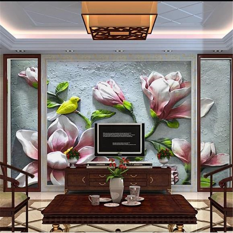 3D Custom Wallpapers Chinese Style Luxurious Flowers Murals Embossed Birds Florals Photo Wallpapers for Living Room Home Decor beibehang modern luxury circle design wallpaper 3d stereoscopic mural wallpapers non woven home decor wallpapers flocking wa