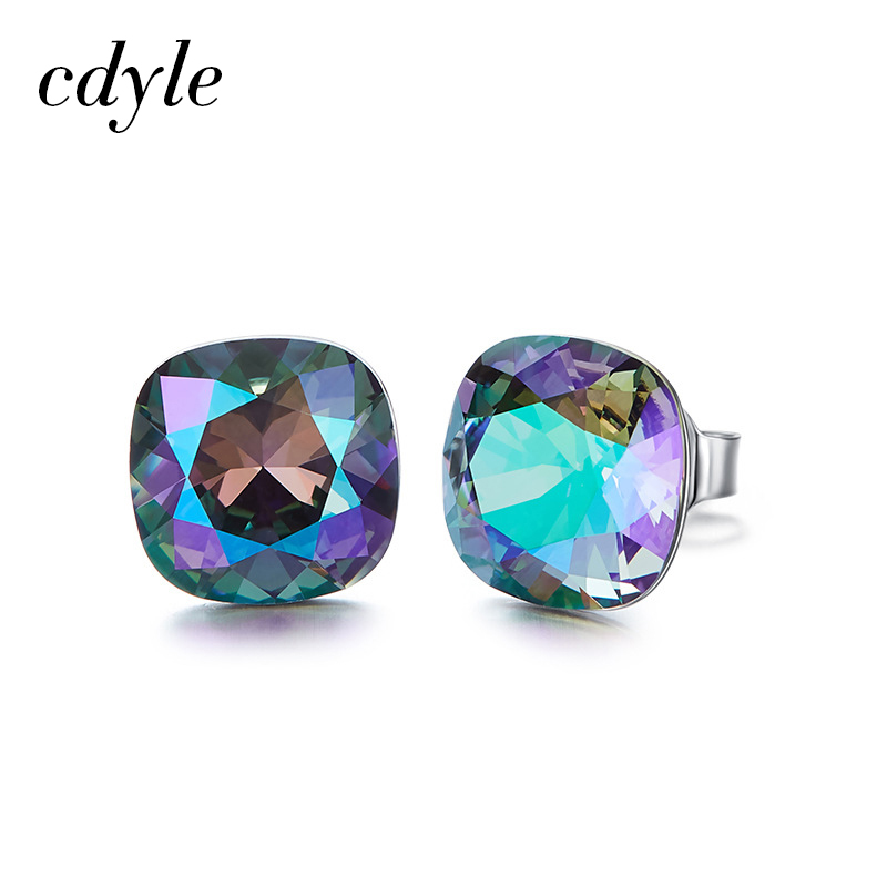 Cdyle Crystals from Swarovski Stud Earrings Women Earrings Austrian Rhinestone Bijoux S925 Sterling Silver Jewelry Chic Sexy pair of stylish rhinestone triangle stud earrings for women
