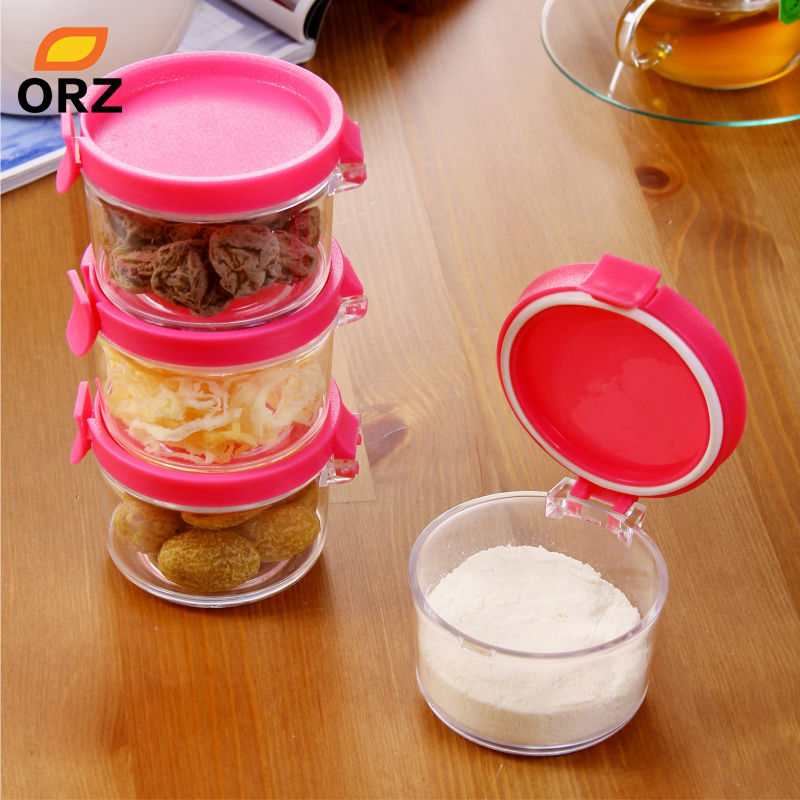 ORZ 4PCS Plastic Jar With Lid Storage Box Organizer Canister Candy Honey Jam Cream Cookie Tea Coffee Sealed Jar Can Spice Bottle