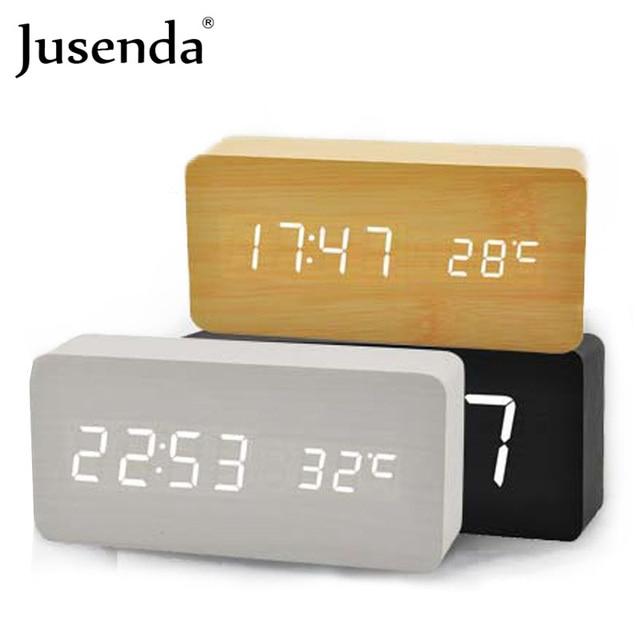 0b56c154e3e Cubo Controle de Voz Relógio De Madeira alarme madeira temperatura relógio  digital levou despertador Relógio de