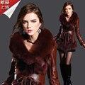 Elegante moda de europa imitación capa de cuero de piel delgada faux medio largo de piel de zorro chaqueta mujeres abrigo de invierno envío gratis