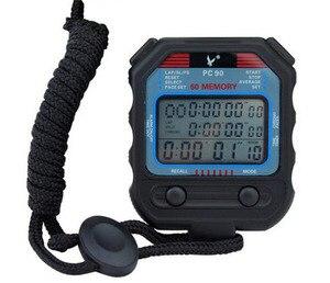 Цифровой профессиональный секундомер, 3 ряда, 60 кругов, второй цифровой спортивный счетчик, таймер PC90, профессиональный секундомер для легк...