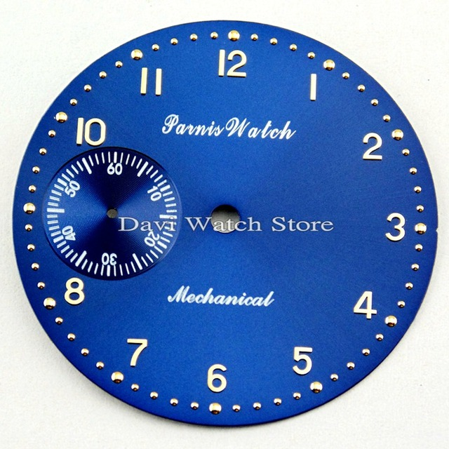 Parnis 38.9mm  Blue watch dial fit ETA 6497 Seagull st36 movement watch watch faces