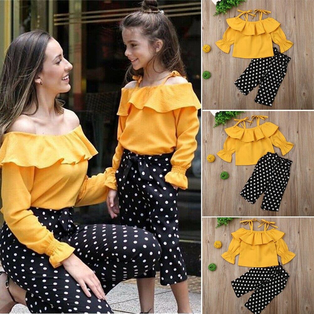 Pudcoco Summer Toddler Baby Girl Clothes Off Shoulder Strap Ruffle Tops Polka Dot Long Pants 2PCS Outfits Set