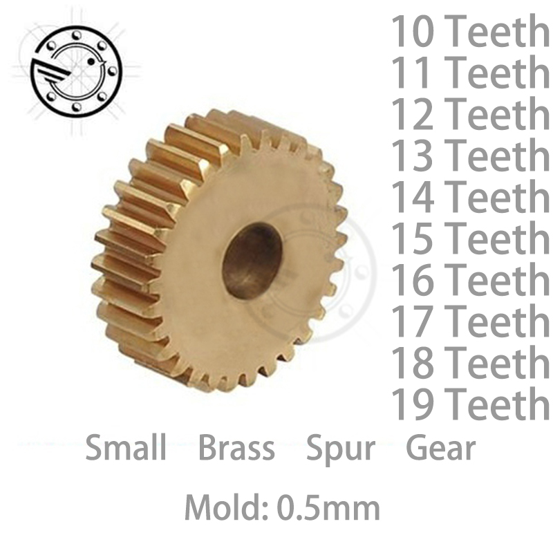 10pcs/lot 0.5M 10 11 12 13 14 15 16 17 18 19 Teeth Small Brass Spur Gear CNC lathe machining parts рубашка insight shirt heather grey