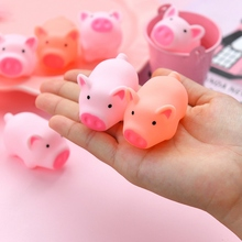 10pcs/lot Funny Toy High Quality Pink PVC Piggy Duck Baby Bath Toys Sound Squeaky Shower Water Floating Mini Bathroom