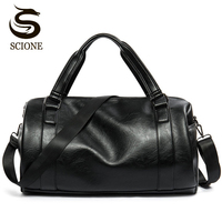 2016 New Men Travel Duffle Bag PU Leather Men S Travel Bags Black Shoulder Handbag Round