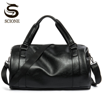 New Men Travel Duffle Bag PU Leather Men's Bags Black Shoulder Handbag Round Bucket Shape Messenger Tote JXY814 - discount item  31% OFF Travel Bags