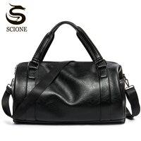 New Men Travel Duffle Bag PU Leather Men's Travel Bags Black Shoulder Handbag Round Bucket Shape Messenger Bag Tote JXY814