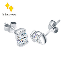 1 Carat A Pair Real 18K Solid White Gold Stud Earrings For Women Wedding Round Brilliant Cut Moissanite VVS G H Christmas Gift