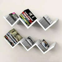 Creative clapboard shelf, wall shelf, W wall bookshelf, 3