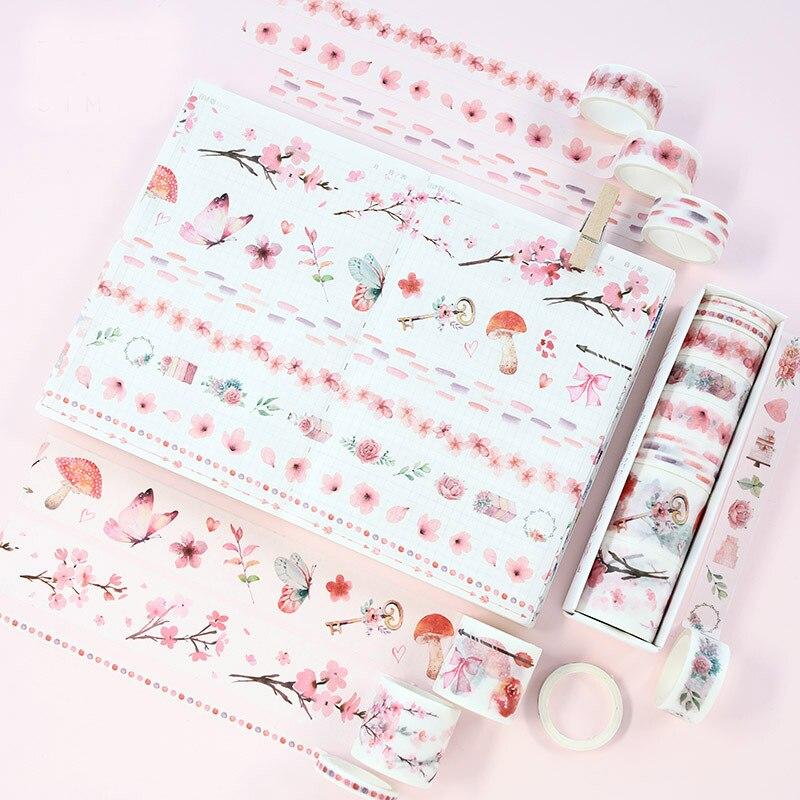 8 Pcs/Set Washi Tape Masking Tapes Washitape Wasi Floral Cute Deco Sakura Wash Cinta Adhesiva Decorativa Vintage Fita Adesiva