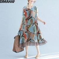 DIMANAF בתוספת גודל 2018 נשים קיץ שמלת שיפון חוף עלים הדפסת Loose מקרית אופנה מתוקה שרוול קצר שמלות חדשות אלגנטיות