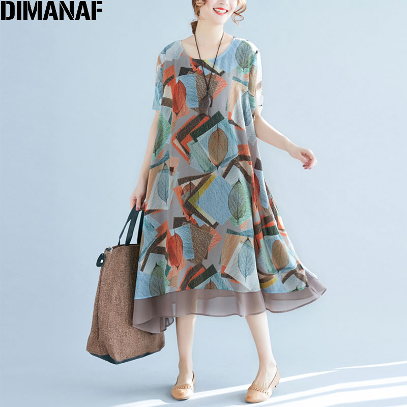 DIMANAF Plus Size 2018 Summer Women Chiffon Dress Beach Leaves Print Loose Sweet Fashion Casual Short Sleeve Elegant New Dresses