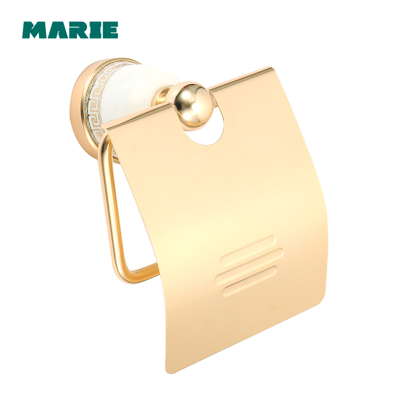 Gold Toilet Paper Holder Roll Holder Tissue Holder aluminum Bathroom Accessories Products Paper Hanger in Paper Holders from Home Improvement