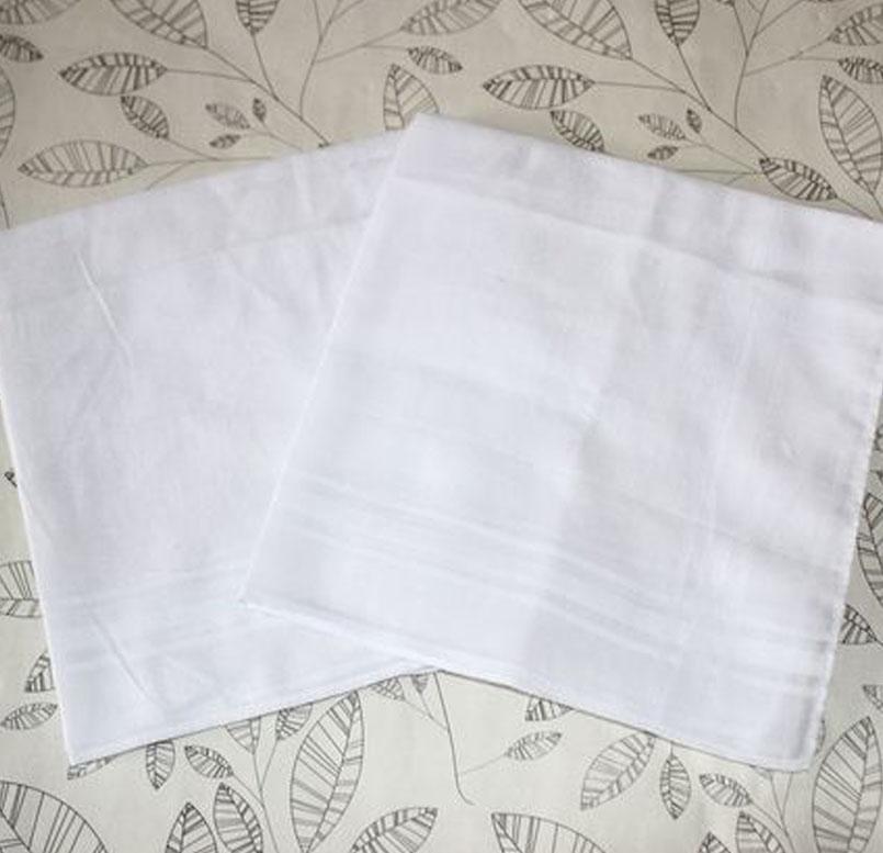 White Thin Soft Cotton Handkerchief Men Stripe Small Square Kerchief 34x34 Cm