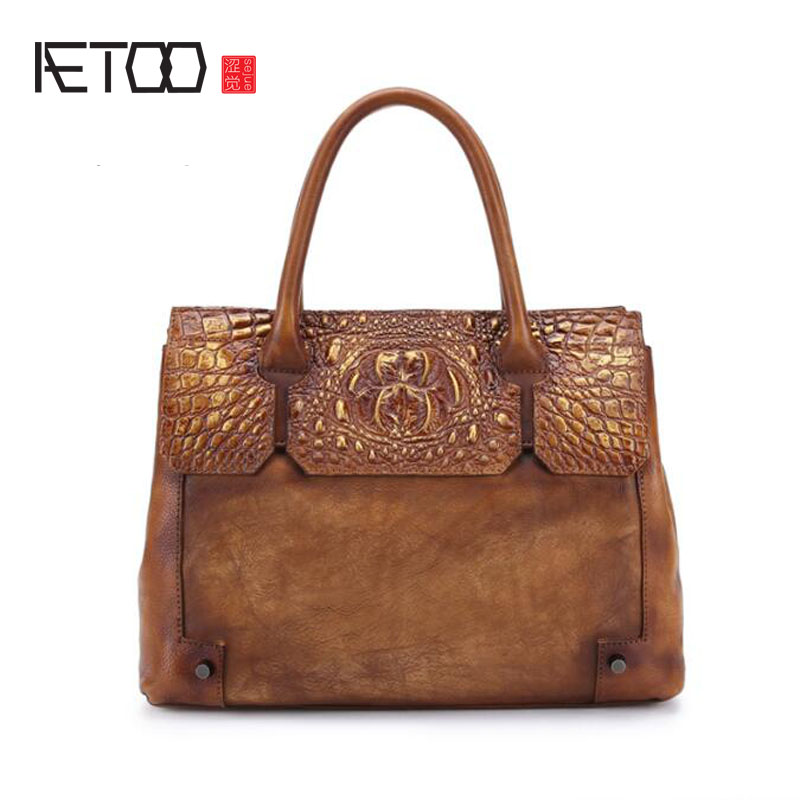 AETOO Crocodile pattern handbag female leather bag leather retro shoulder bag casual ladies diagonal package yuanyu new 2017 new hot free shipping crocodile women handbag single shoulder bag thailand crocodile leather bag shell package