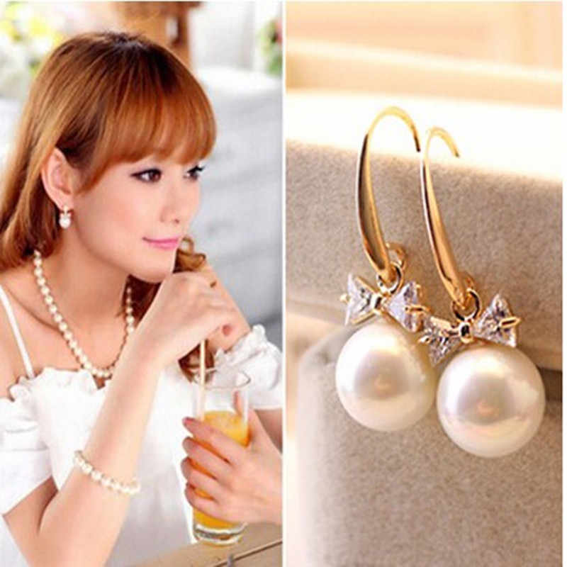 2019 fashion new white personality bowtie zircon earrings women's jewelry accessories wholesale