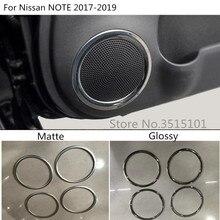 Car Styling rivelatore bastone ABS cromato opaco All'interno Della Porta Audio Speak Audio Anello di Copertura trim 4 pz Per Nissan NOTE 2017 2018 2019