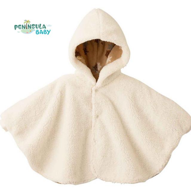 2017 nueva moda de invierno abrigos bebé niños chica batas clothing prendas de vestir exteriores de lana del capote del bebé del mono de los niños poncho del cabo de la chaqueta