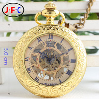 Nowy rodzaj retro złoty zegarek kieszonkowy lupa z klapką Rzym słowo retro smycze hollow mechaniczne mężczyźni i kobiety B028