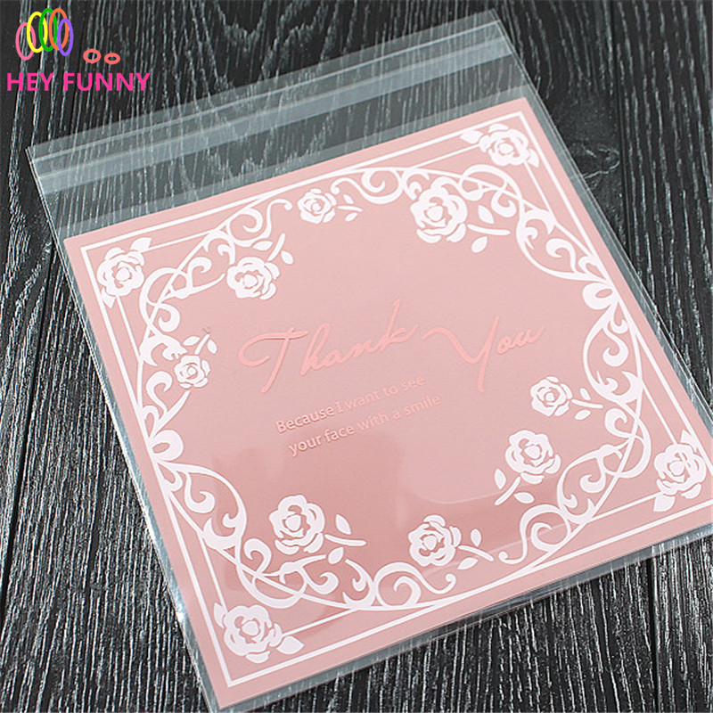 14*14cm 100pcs/lot Candy Bag Pink Series Flower Candy Paper For Children Party Wedding Handmade Wrapping Shopping Gift Bag