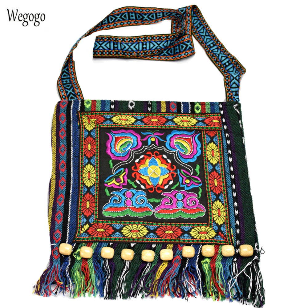 Hmong Vintage Chinese National Style Ethnic Shoulder Bag Embroidery Boho Hippie Tassel Tote Messenger Bags vintage chinese hmong tribal ethnic thailand indian boho handmade embroidery bell shoulder messenger tote bag sac a dos femme