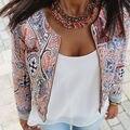 Мода женщины цветочный молния лето свободного покроя костюм короткая куртка пальто и пиджаки