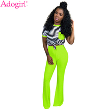 Adogirl Women Casual Two Piece Set Pockets Striped Short Sleeve T Shirt Top Solid Boot Cut Flare Pants Sexy Night Club Outfits