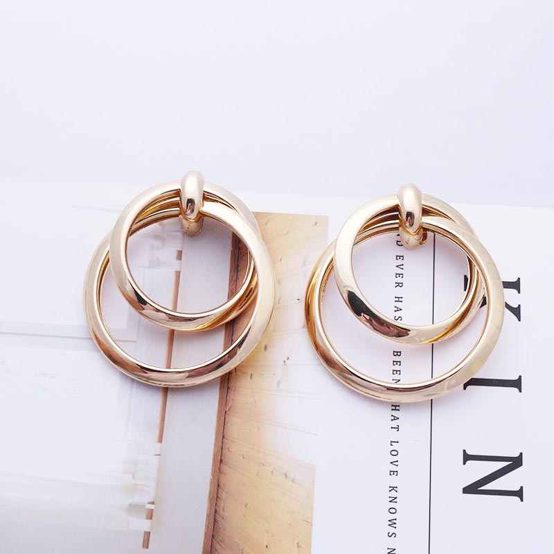 Large Statement Earrings 2019 Hypoallergenic Stud Earrings for Women Geometric Fashion Gold Silver Color Wedding Jewelry EB289